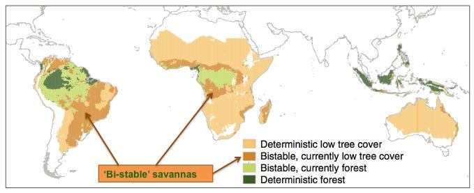 Map of Bi-stable savannas