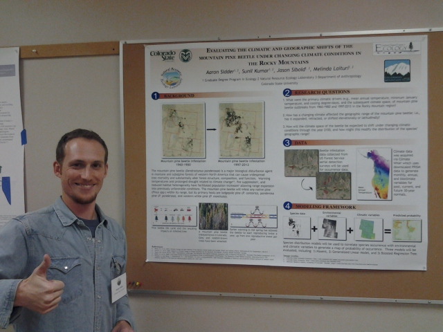 The author posing with his poster during poster session A.