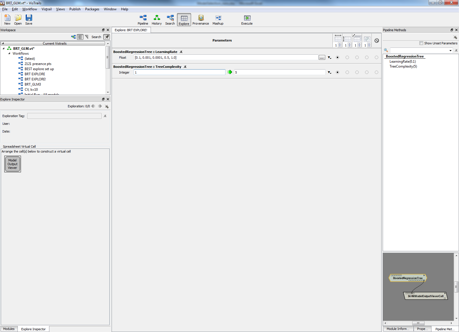 Figure 5: Using the Explore tool to test different model parameters and evaluate performance.
