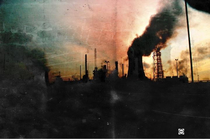 Smokestack billowing smoke