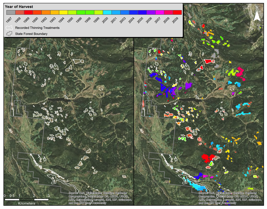 Map of LandTrendr model to delineate the location and age of forest harvests occurring in northern Colorado and southern Wyoming