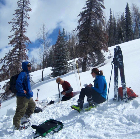 Practicing field sampling techniques in the Dry Lake area outside of Steamboat Springs for Snow Hydrology Field Methods class in April 2015.