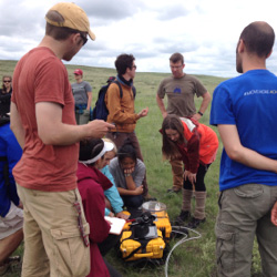 Students sampling in grassland