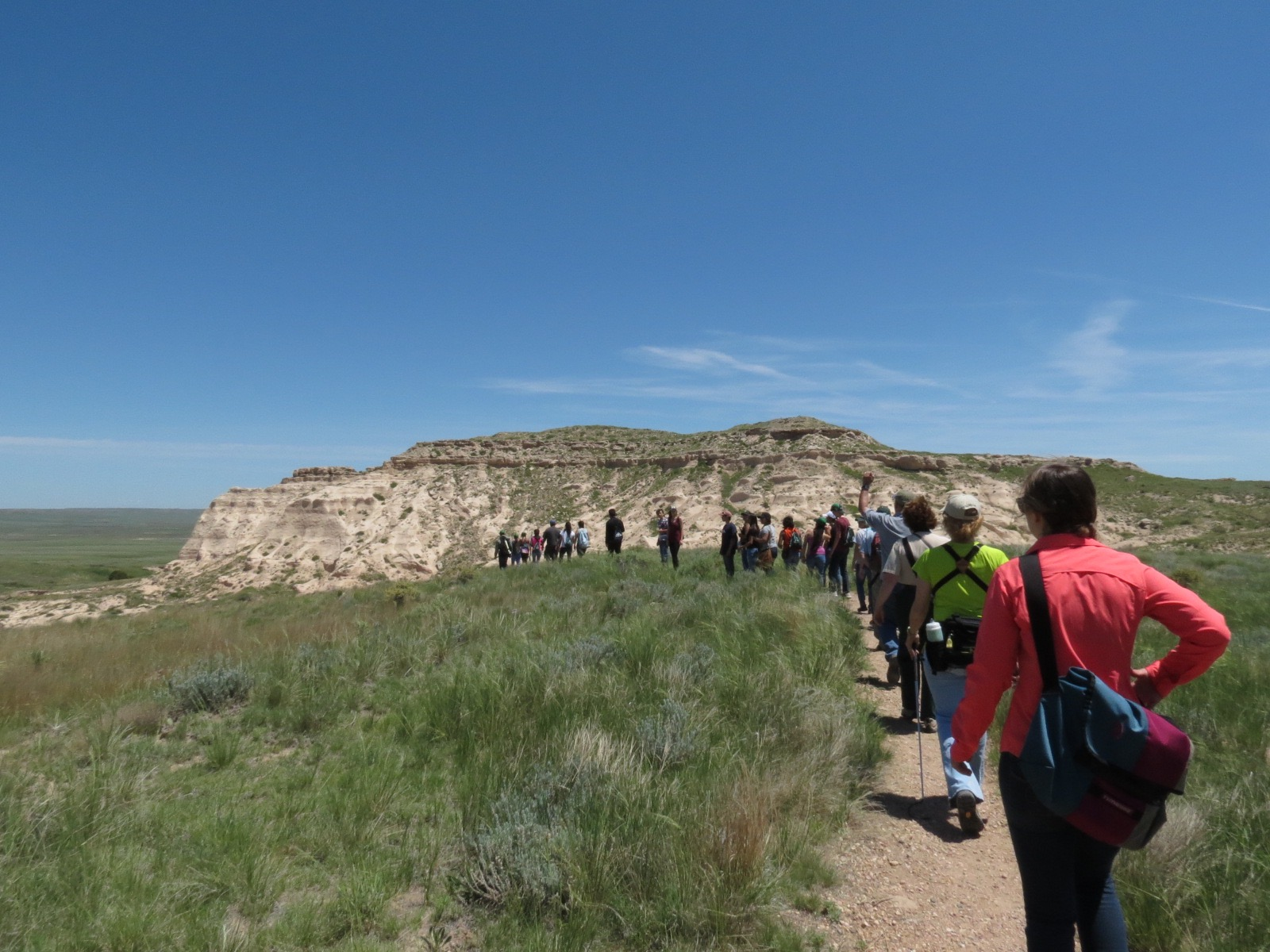 Students going to research site in the Pawnee bluffs