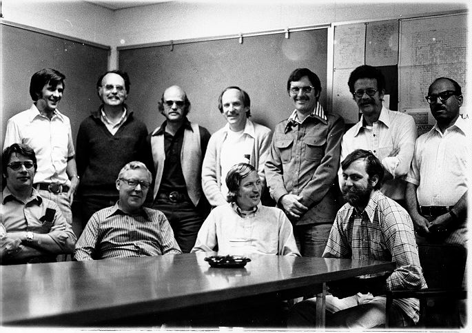 Front row L to R Jerry Dodd, Jim Gibson, Bill Hunt, Bill Parton.  Back row L to R Jim Detling, Dave Coleman, Jim Ellis, Bob Woodmansee, Mel Dyer, Dave Swift, Unab Bokhari.