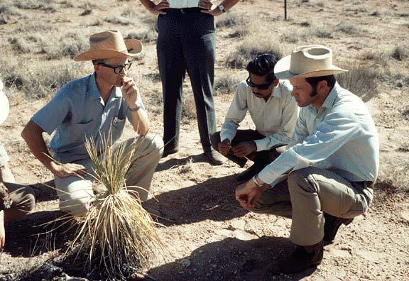 Jornada IBP grassland- Left to right: Rex Pieper, Biome Site Coordinator; Jai Singh; George Van Dyne, Director, US/IBP Grassland Biome Programme-1971