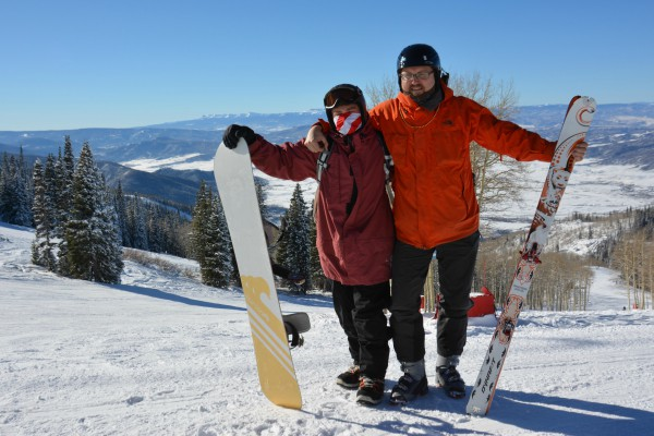 Steven Fassnacht and student on ski slope
