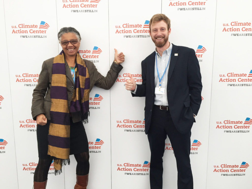 Gillian Bowser and Jakob Lindaas at the U.S. Climate Action Center in Bonn