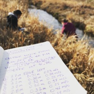 A field notebook showing measurements for citizen science project