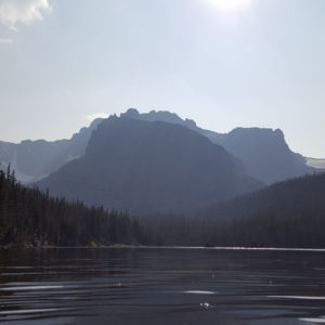A photo of The Loch in Rocky Mountain National Park on a hazy day
