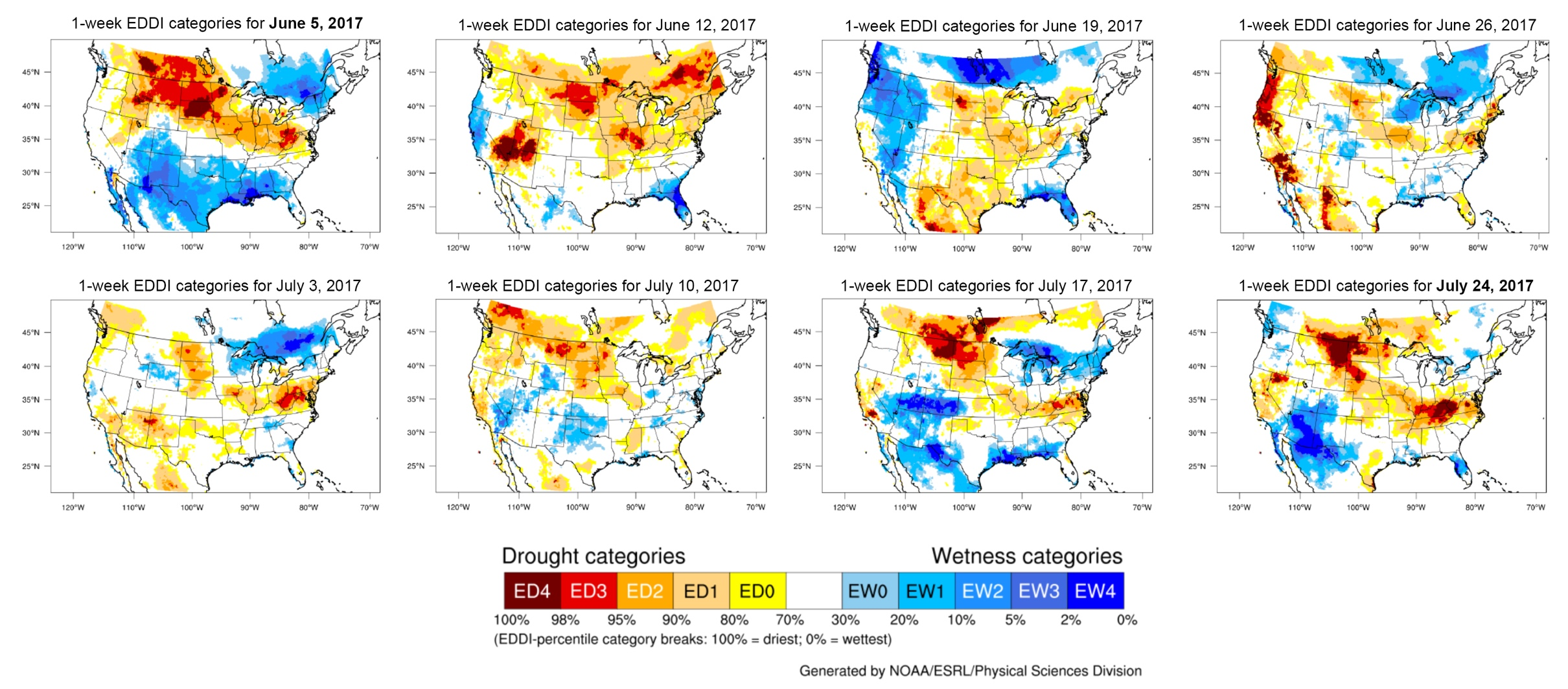 Example drought index maps of the United States
