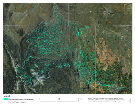 Map of the Cache la Poudre River watershed