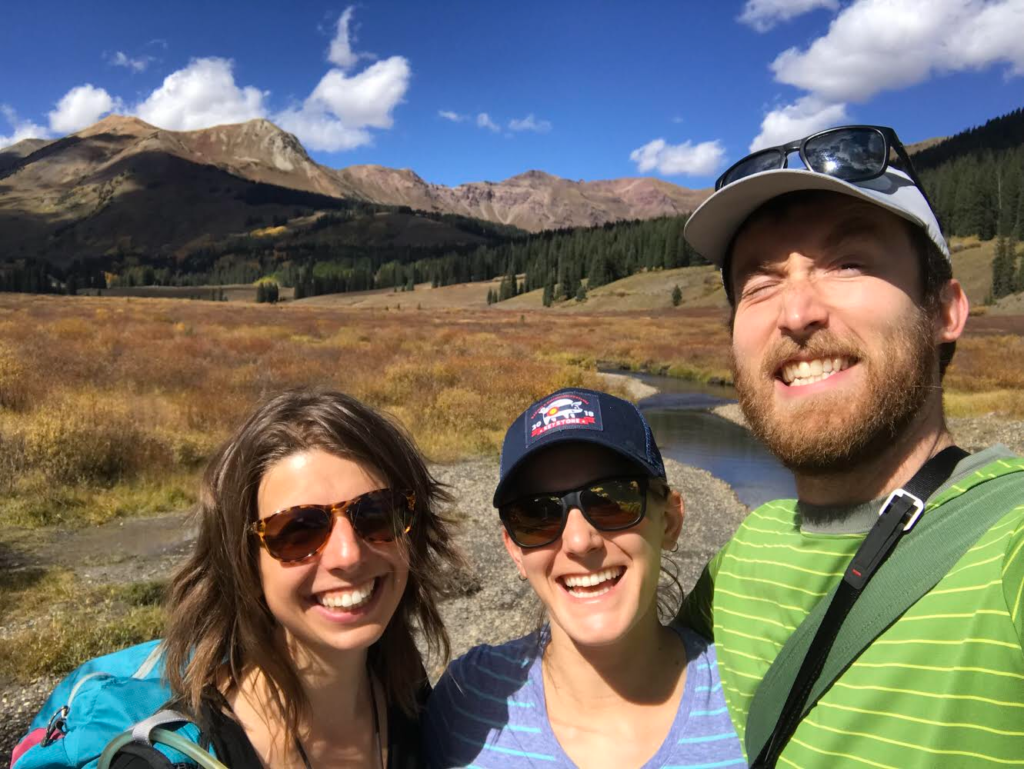 3 students hiking in Gothic, CO