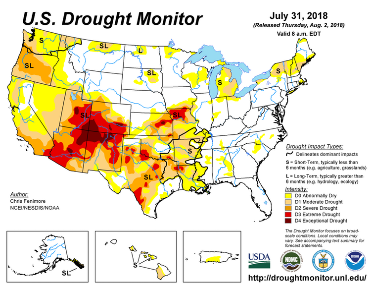 Map of the United States showing current drought conditions