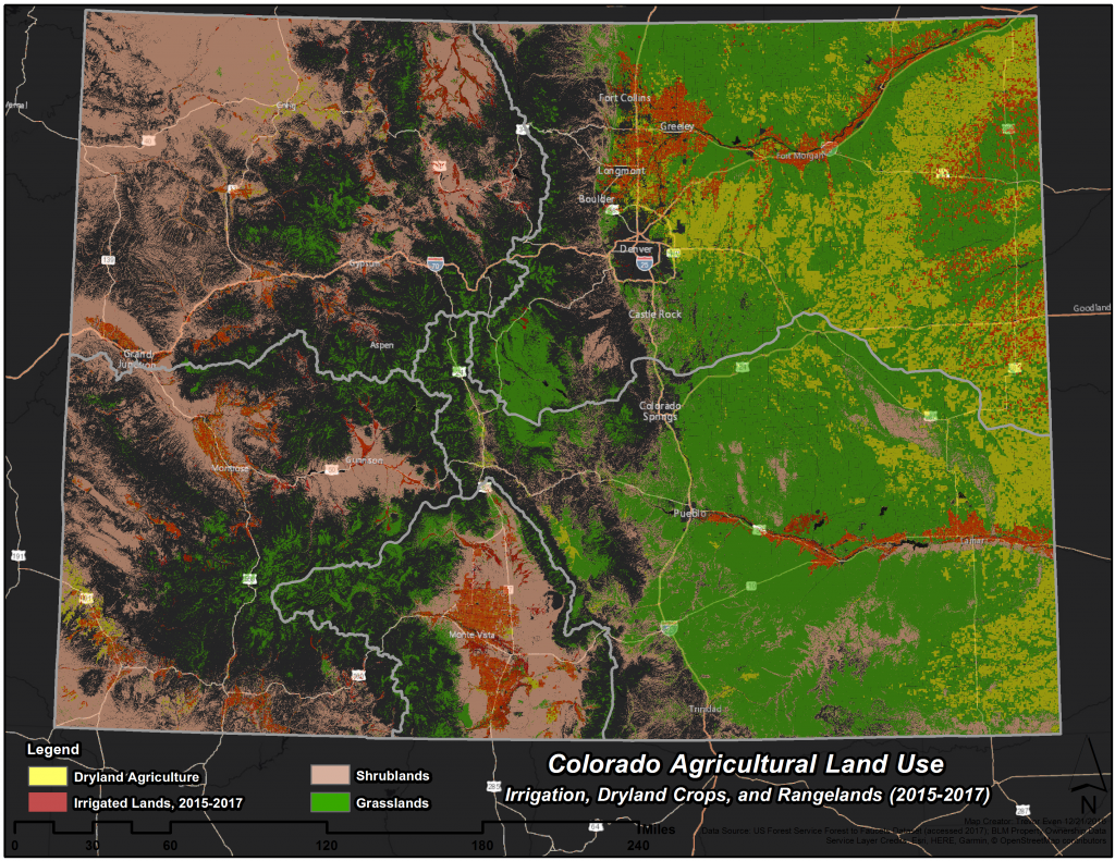 Map of Colorado showing how land is used across the landscape